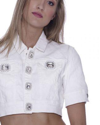 No Secrets - Giubbino corto bianco con bottoni gioiello.
